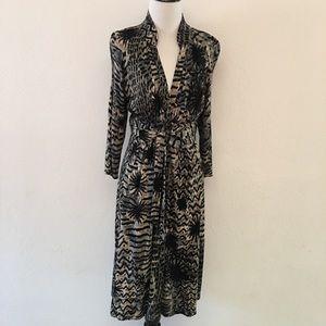 Tracy Reese Animal Print Long Sleeve Dress size 4